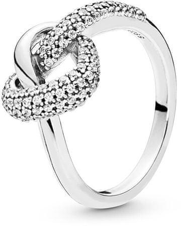 Pandora Srebrni prstan Prepleteno srce 198086CZ (Obseg 54 mm) srebro 925/1000