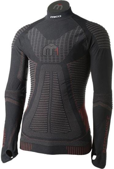 Mico Man Long Sleeves Mock Neck Shirt M1 Nero Rosso S / M (I)