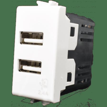 4Box Vimar Plana vtičnica, USB, dvojna, 2.4 A, bela