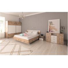 Spálňový komplet, (posteľ 160x200 cm), dub wotan/biela, GABRIELA