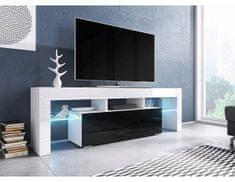 FORLIVING Televizní stolek Toro - Dezén bílá-černý lesk, bez osvětlení