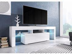 FORLIVING Televizní stolek Toro - Dezén bílá-bílý lesk, bez osvětlení