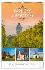 Nástenný kalendár Kapličky a kostelíky CZ 2020, 33 x 46 cm