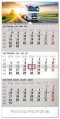 Nástěnný kalendář 3měsíční truck šedý – s českými jmény 2020