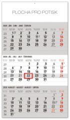 Nástěnný kalendář 3mesačný štandard šedý – so slovenskými menami SK 2020