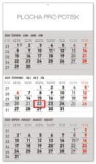 Nástěnný kalendář 3měsíční standard šedý – s českými jmény 2020
