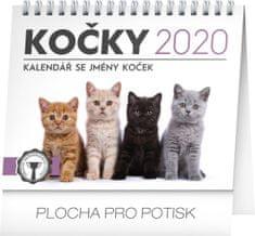 Stolní kalendář Mačky – se jmény koček CZ 2020, 16,5 x 13 cm