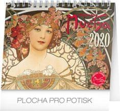 Stolní kalendář Alfons Mucha CZ 2020, 16,5 x 13 cm