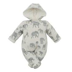 BABY SERVICE Zateplená dojčenská kombinéza s kapucňou Baby Service Slony sivá 68 (4-6m) Sivá