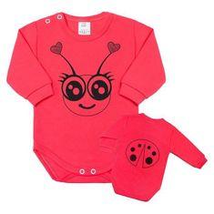 NEW BABY Dojčenské body s dlhým rukávom New Baby Zvieratko Lienka ružové 80 (9-12m) Ružová