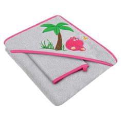 AKUKU Detská osuška so žinkou a kapucňou 80x80 Akuku šedo-růžová s hrošíkom Ružová