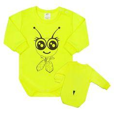 NEW BABY Dojčenské body s dlhým rukávom New Baby Zvieratko Včielka neonové 62 (3-6m) Zelená