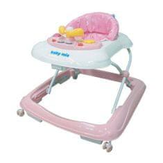 Baby Mix Detské chodítko Baby Mix s volantom a siikónovými kolieskami pink Ružová