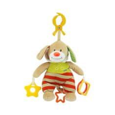 Baby Mix Plyšová hračka s hracím strojčekom Baby Mix Psík s kapucňou béžový Červená