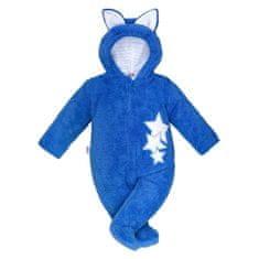 NEW BABY Zimná detská kombinéza New Baby Ušiačik modrá 68 (4-6m) Modrá