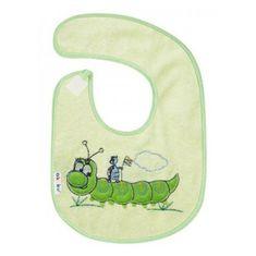 AKUKU Detský froté podbradník Akuku zelený s húsenicou Zelená