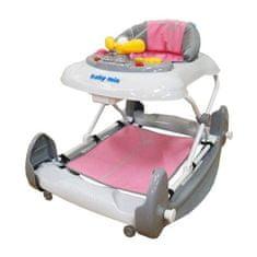 Baby Mix Detské chodítko s hojdačkou a siikónovými kolieskami Baby Mix ružové Ružová