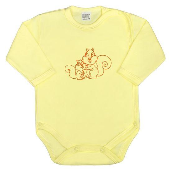 NEW BABY Dojčenské body celorozopínacie New Baby Malé Zvieratká žlté 62 (3-6m) Žltá