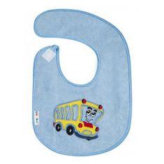 AKUKU Detský froté podbradník Akuku modrý s autobusom Modrá