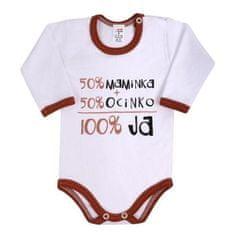 NEW BABY Body s dlhým rukávom so slovenským nápisom New Baby hnedé 80 (9-12m) Hnedá