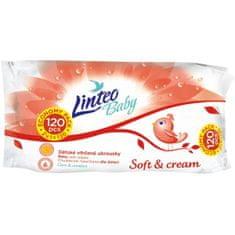 LINTEO Vlhčené obrúsky Linteo Baby 120 ks Soft and cream Podľa obrázku