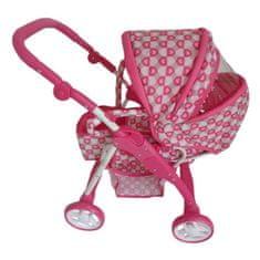 Baby Mix Detský kočík pre bábiky 2v1 Baby Mix ružový - srdiečka Ružová