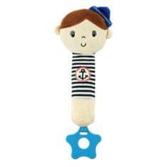 Baby Mix Detská pískacia plyšová hračka s hryzátkom Baby Mix námorník chlapec Modrá