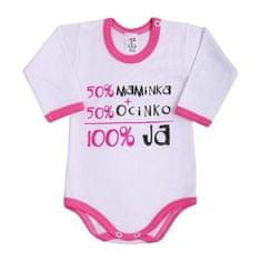 NEW BABY Body s dlhým rukávom so slovenským nápisom New Baby ružové 86 (12-18m) Ružová