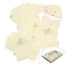 NEW BABY 5-dielna súpravička New Baby Veveričky v krabičke béžová 62 (3-6m) Béžová