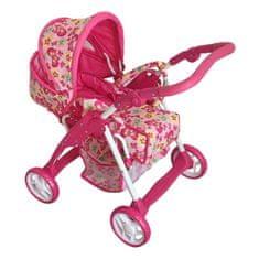 Baby Mix Detský kočík pre bábiky 2v1 Baby Mix ružový - motýli Ružová