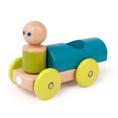 Tegu Magnetická hračka autíčko Pretekár tyrkysové
