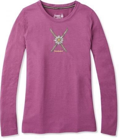 SmartWool ženska športna majica Powder Flower Ls Tee Sangria Heather, L, roza