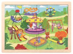 TOP BRIGHT Dřevěné puzzle Zvířátka na hřišti 24 dílků