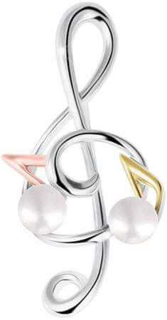 JwL Luxury Pearls Trójkolorowy klucz do skrzypiec Broszka z prawą perłą 2w1 JL0575