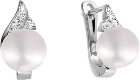 JwL Luxury Pearls Lepi uhani z belim resničnim biserjem s cirkoni JL0590 srebro 925/1000