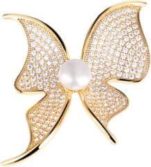 JwL Luxury Pearls Třpytivá brož motýl s pravou perlou a krystaly JL0574
