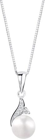JwL Luxury Pearls Srebrna ogrlica s pravim biserom in cirkoni JL0591 (veriga, obesek) srebro 925/1000
