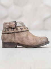 Exkluzívní kotníčkové boty dámské hnědé na plochém podpatku