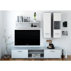 Obývacia stena, beton/biela, WAW NEW