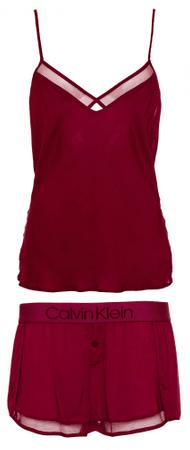 Calvin Klein dámské pyžamo QS6119E Cami/Short Sleep Set S vínová