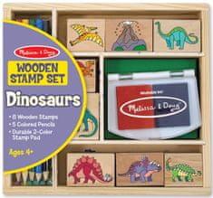 Melissa & Doug Drevené pečiatky v krabičke - Dino