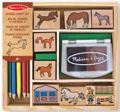 Melissa & Doug Dřevěná razítka v krabičce - Koně