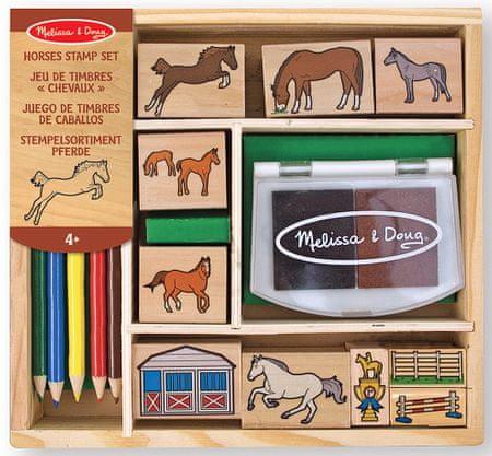 Melissa & Doug drewniane stemple w pudełku - Konie
