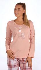 Vienetta Dámské pyžamo dlouhé Malí méďové barva starorůžová