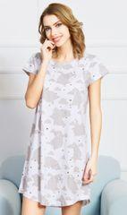 Vienetta Dámská noční košile s krátkým rukávem Méďové barva světle šedá