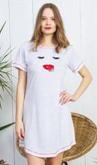 Vienetta Dámská noční košile s krátkým rukávem Pusinka barva světle šedá