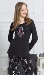 Vienetta Dámské pyžamo dlouhé Lucky barva černá