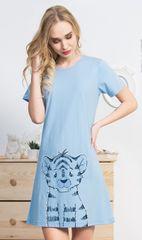 Vienetta Dámská noční košile s krátkým rukávem Tygřík barva světle modrá