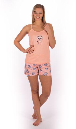 Vienetta Dámské pyžamo šortky na ramínka Mýval barva meruňková, velikost XL