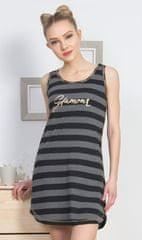 Vienetta Dámská noční košile na ramínka Glamour barva tmavě šedá